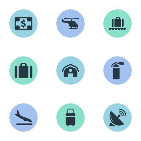 9 간단한 교통 아이콘의 집합입니다. 보호 도구, 차고, 등판 평면 및 기타와 같은 요소를 찾을 수 있습니다.
