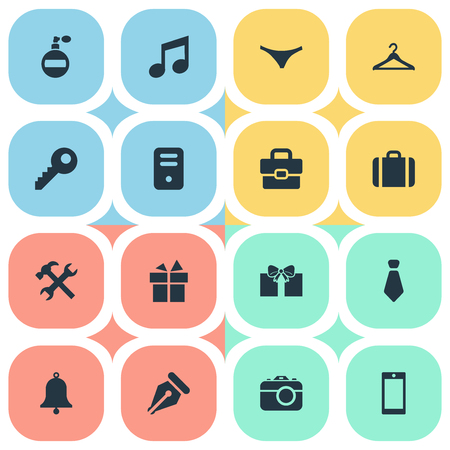 Set Of 16 Simple  Icons. Can Be Found Such Elements As Ring, Fragrance, Briefcase And Other. Illustration