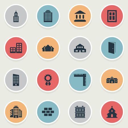 Set Of 16 Simple Structure Icons. Can Be Found Such Elements As Floor, Reward, Block And Other. Illustration