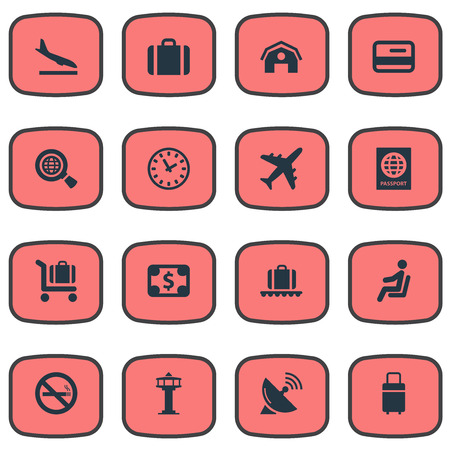 Set Of 16 Simple Airport Icons. Can Be Found Such Elements As Garage, Alighting Plane, Global Research And Other.