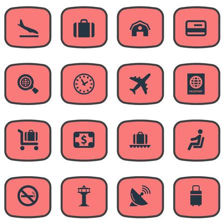 16 간단한 공항 아이콘의 세트입니다. Garage, Alighting Plane, Global Research 및 Other와 같은 요소를 찾을 수 있습니다.