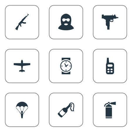 Set Of 9 Simple Battle Icons. Can Be Found Such Elements As Watch,Terrorist And Other.