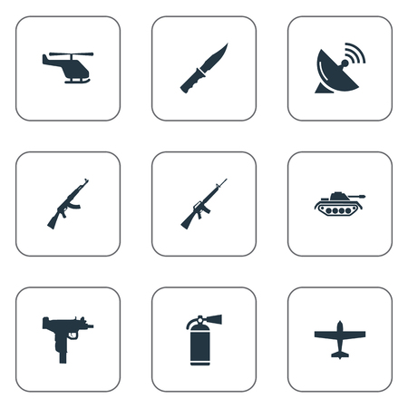 Set Of 9 Simple Army Icons. Can Be Found Such Elements As Cold Weapon, Signal Receiver, Firearm And Other. Illustration
