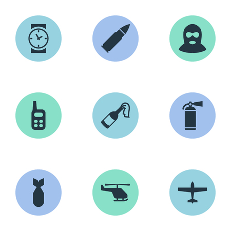 Set Of 9 Simple Military Icons. Can Be Found Such Elements As Ammunition, Extinguisher, Walkies And Other.