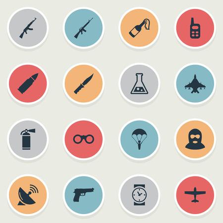 Set van 16 eenvoudige gevechtsiconen. Kunnen dergelijke elementen als signaalontvanger, geweerwapen en andere vinden. Stock Illustratie