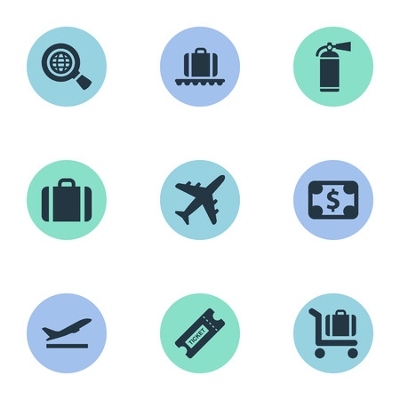Set Of 9 Simple Plane Icons. Can Be Found Such Elements As Baggage Cart, Handbag, Luggage Carousel.