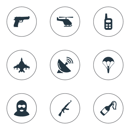 Vector Illustration Set Of Simple Terror Icons. Elements Helicopter, Kalashnikov, Paratrooper And Other Synonyms Communication, Gun And Bomb. Illustration