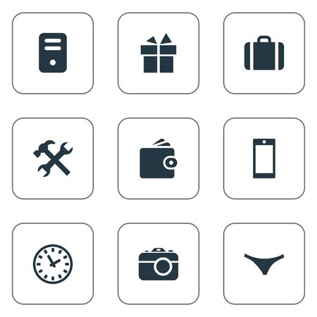 Vector Illustration Set Of Simple  Icons. Elements Billfold, System Unit, Repair And Other Synonyms Mobile, Gratuity And Photographing.