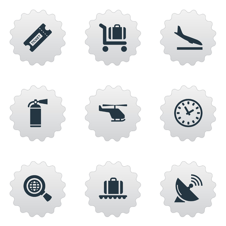 Vector Illustration Set Of Simple Plane Icons. Elements Antenna, Alighting Plane, Watch And Other Synonyms Baggage, Search And Plane.