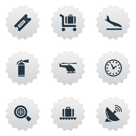 벡터 일러스트 레이 션 간단한 비행기 아이콘의 집합입니다. 요소 안테나, 하강 비행기, 시계 및 기타 동의어 수하물, 검색 및 비행기.