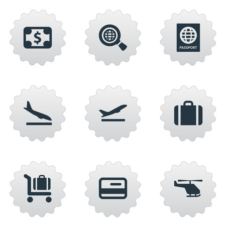 Vector Illustration Set Of Simple Airport Icons. Elements Air Transport, Alighting Plane, Global Research And Other Synonyms Flight, Cart And Takeoff. 일러스트