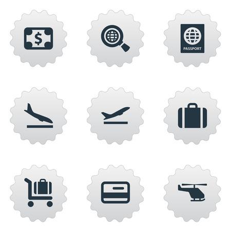 벡터 일러스트 레이 션 간단한 공항 아이콘의 집합입니다. 요소 항공 운송, 비행기 추락, 글로벌 연구 및 기타 동의어 비행, 장바구니 및 이륙. 일러스트