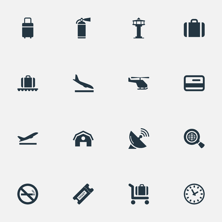 Vector Illustration Set Of Simple Transportation Icons. Elements Protection Tool, Antenna, Garage And Other Synonyms Plastic, Earth And Alighting.