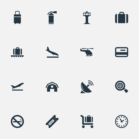 벡터 일러스트 레이 션 간단한 교통 아이콘의 집합입니다. 요소 보호 도구, 안테나, 차고 및 기타 동의어 플라스틱, 지구 및 차가.