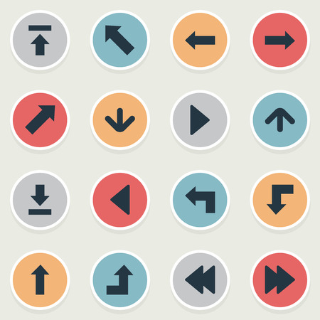 Vector Illustration Set Of Simple Pointer Icons. Elements Pointer , Left Landmark , Pointer Synonyms Reduction, Arrow And Download.