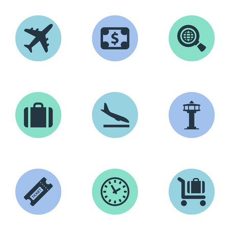 Vector Illustration Set Of Simple Plane Icons. Elements Flight Control Tower, Coupon, Alighting Plane And Other Synonyms Search, Cart And Airplane.
