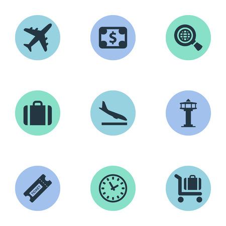 벡터 일러스트 레이 션 간단한 비행기 아이콘의 집합입니다. 요소 비행 제어 타워, 쿠폰, 비행기 및 다른 동의어 검색, 장바구니 및 비행기입니다.