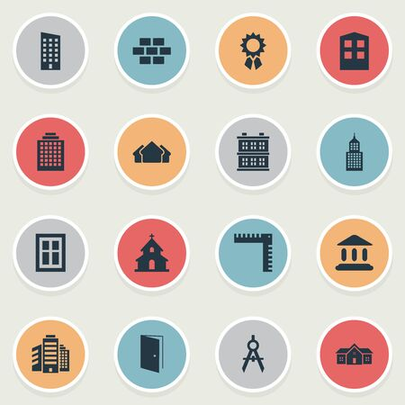 e41be1bb7ec Vector Illustration Set Of Simple Architecture Icons. Elements Popish
