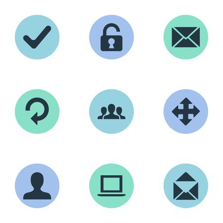 벡터 일러스트 레이 션 간단한 응용 프로그램 아이콘의 집합입니다. 요소 봉투, 메시지, 새로 고침 및 다른 동의어 새로 고침, 프로필 및 자물쇠.