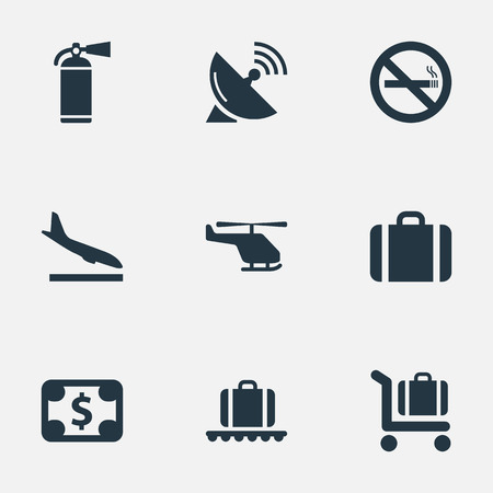 Vector Illustration Set Of Simple Transportation Icons. Elements Alighting Plane, Protection Tool, Handbag Synonyms Helicopter, Landing And Money.