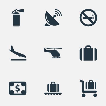 벡터 일러스트 레이 션 간단한 교통 아이콘의 집합입니다. 평면, 보호 도구, 동의어 헬리콥터, 착륙 및 돈을 핸드백 요소.