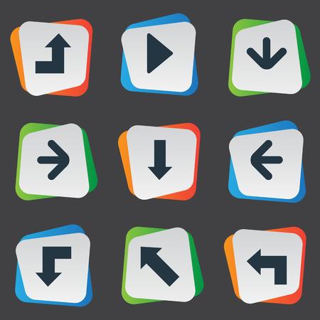 벡터 일러스트 레이 션 간단한 화살표 아이콘의 집합입니다. 아래쪽으로 포인팅하는 요소, 포인터, 왼쪽 방향 및 기타 동의어 화살표, 아래로 및 증가. 일러스트