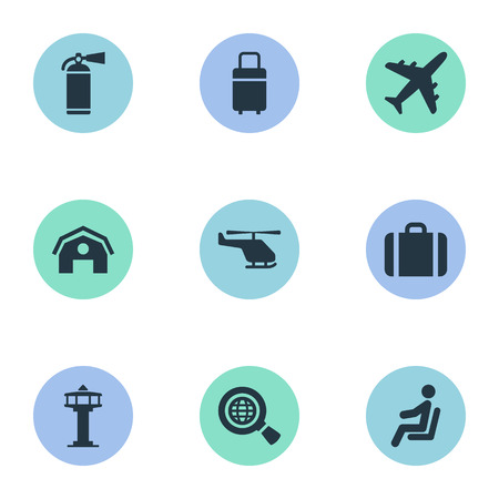 Vector Illustration Set Of Simple Airport Icons. Elements Seat, Plane, Flight Control Tower And Other Synonyms Shed, Fly And Baggage. Illustration