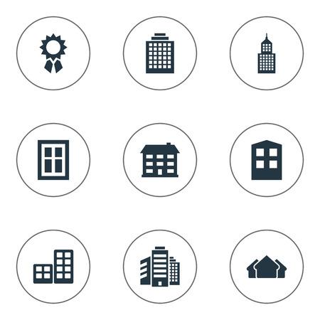 Vectorillustratiereeks Eenvoudige Structuurpictogrammen. Elementenbureaus, beglazing, platte en andere synoniemenarchitectuur, constructie en onroerend goed.