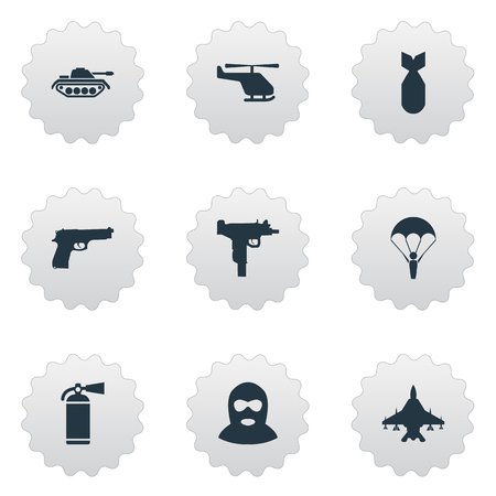 Vector Illustration Set Of Simple War Icons. Elements Firearm, Heavy Weapon, Extinguisher And Other Synonyms Heavy, Extinguisher And Chopper. Illustration