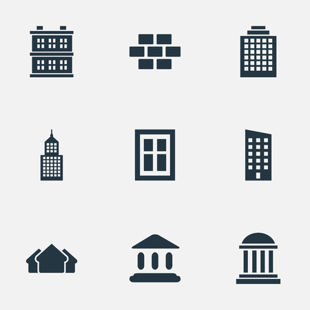 company premises: Vector Illustration Set Of Simple Construction Icons. Elements Structure, Shelter, Block And Other Synonyms Construction, Museum And Stone. Illustration