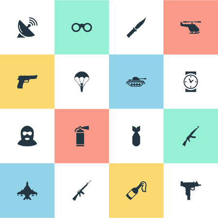 Vector Illustration Set Of Simple Battle Icons. Elements Kalashnikov, Rifle Gun, Watch And Other Synonyms Ak47, Force And Arm.