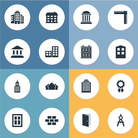superstructure: Vector Illustration Set Of Simple Structure Icons. Elements Superstructure, Offices, Reward And Other Synonyms Gate, Realty And Ruler.