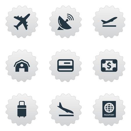 Vector Illustration Set Of Simple Plane Icons. Elements Currency, Travel Bag, Alighting Plane And Other Synonyms Luggage, Certificate And Bag.