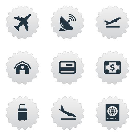 벡터 일러스트 레이 션 간단한 비행기 아이콘의 집합입니다. 요소 통화, 여행 가방, 비행기 및 기타 동의어 수하물, 인증서 및 가방.