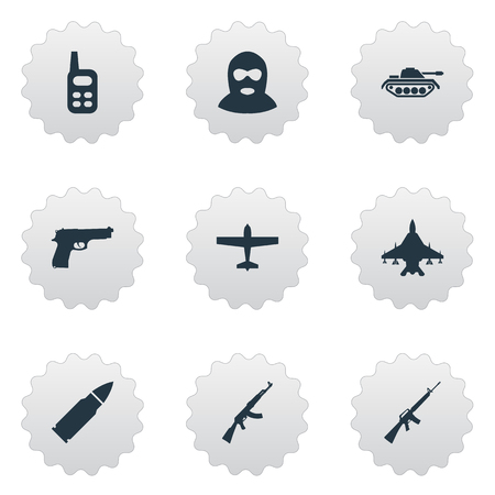 Vector Illustration Set Of Simple Terror Icons. Elements Walkies, Ammunition, Heavy Weapon And Other Synonyms Arm, Radio And M4A1.