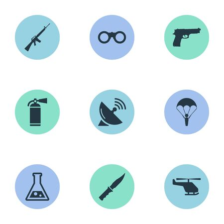 Vector Illustration Set Of Simple Battle Icons. Elements Helicopter, Paratrooper, Chemistry And Other Synonyms Pistol, Glasses And Parachutist.