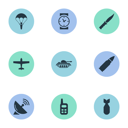 nuke: Vector Illustration Set Of Simple War Icons. Elements Watch, Walkies, Nuke And Other Synonyms Aviation, Bullet And Sputnik.
