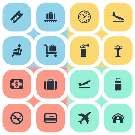 벡터 일러스트 레이 션 간단한 공항 아이콘의 집합입니다. 비행기, 좌석, 수화물 장바구니 및 다른 동의어를 암실 요소 연기, 좌석 및 제어.