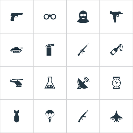 nuke: Vector Illustration Set Of Simple Military Icons. Elements Heavy Weapon, Sky Force, Nuke And Other Synonyms Antenna, Time And Molotov.