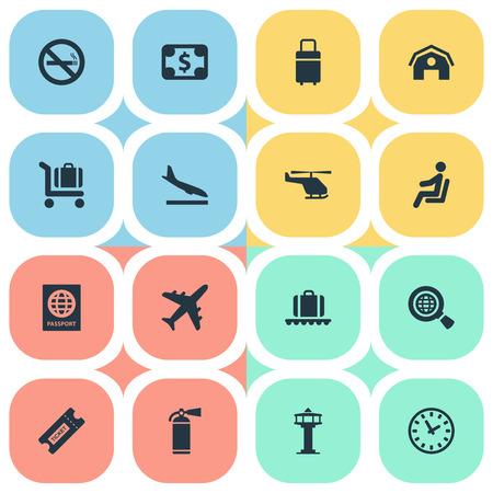 벡터 일러스트 레이 션 간단한 여행 아이콘의 집합입니다. 요소 수하물 회전 목마, 통화, 하강 평면 및 기타 동의어 중지, 시민권 및 화재.