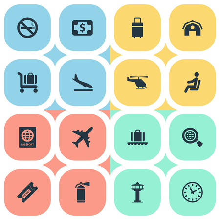 Vector Illustration Set Of Simple Travel Icons. Elements Luggage Carousel, Currency, Alighting Plane And Other Synonyms Stop, Citizenship And Fire.
