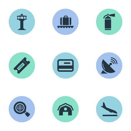 Vector Illustration Set Of Simple Travel Icons. Elements Luggage Carousel, Credit Card, Flight Control Tower And Other Synonyms Protection, Shed And Hangar.