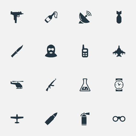 Vector Illustration Set Of Simple Military Icons. Elements Sky Force, Firearm, Cold Weapon And Other Synonyms Aviation, Knife And Copter.