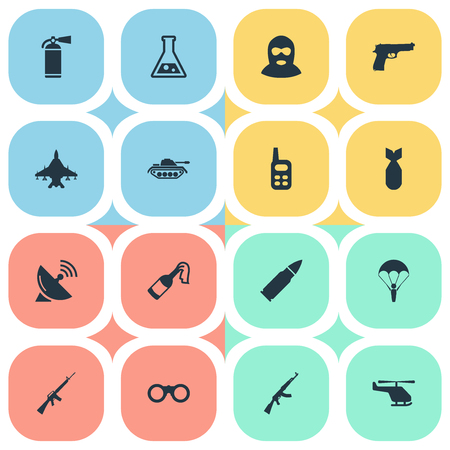 molotov: Vector Illustration Set Of Simple Battle Icons. Elements Chemistry, Heavy Weapon, Helicopter And Other Synonyms Air, Molotov And Plane. Illustration