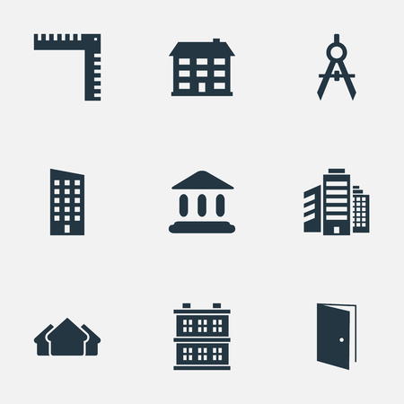 Vector Illustration Set Of Simple Construction Icons. Elements Floor, Gate, Superstructure And Other Synonyms Estates, Booth And Door. Illustration