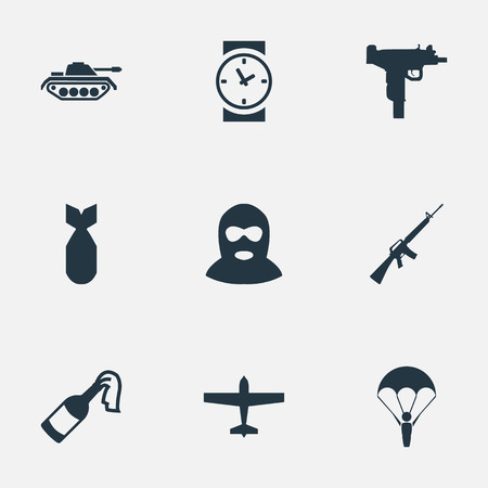 nuke: Vector Illustration Set Of Simple Battle Icons. Elements Nuke, Watch, Air Bomber And Other Synonyms Nuke, Air And Clock.