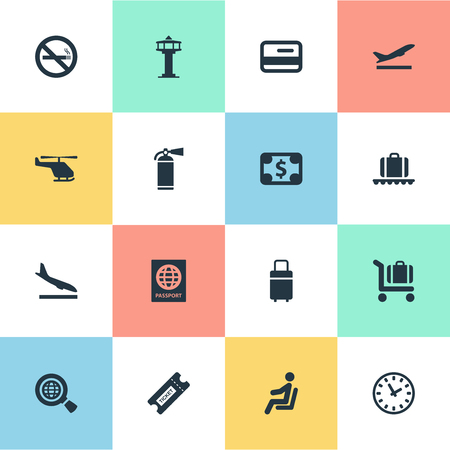 Vector Illustration Set Of Simple Travel Icons. Elements Alighting Plane, Currency, Credit Card And Other Synonyms Stop, Card And Money. 일러스트