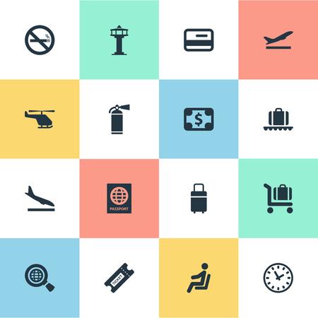 벡터 일러스트 레이 션 간단한 여행 아이콘의 집합입니다. 비행기, 통화, 신용 카드 및 다른 동의어를 역기 요소 중지, 카드 및 돈입니다.