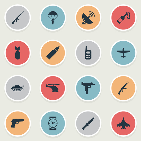 parachuter: Vector Illustration Set Of Simple Terror Icons. Elements Watch, Rifle Gun, Firearm And Other Synonyms Antenna, Force And Dagger.