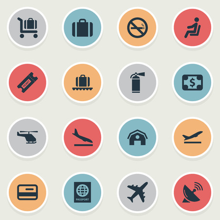 Vector Illustration Set Of Simple Transportation Icons. Elements Luggage Carousel, Air Transport, Seat And Other Synonyms Dollar, Helicopter And Citizenship.